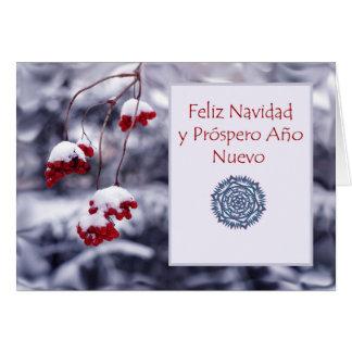 Feliz Navidad, cartão de Natal espanhol, bagas
