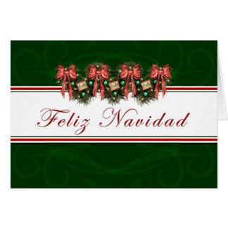 Feliz Navidad - cartão vermelho dos arcos da