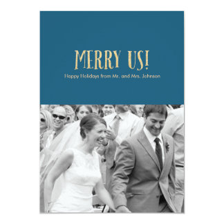 Feliz nós! Cartão-Brilho & azul da foto do feriado Convite