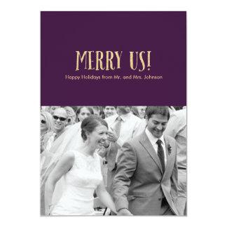 Feliz nós! Cartão-Brilho & beringela da foto do Convite 12.7 X 17.78cm