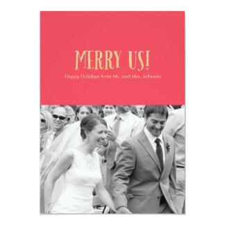 Feliz nós! Cartão-Brilho da foto do feriado de | & Convite 12.7 X 17.78cm