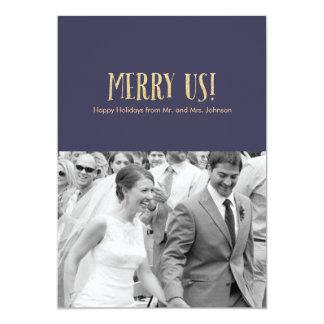 Feliz nós! Cartão-Brilho & marinho da foto do Convite 12.7 X 17.78cm