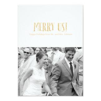 Feliz nós! Cartão-Brilho & pétala da foto do Convite 12.7 X 17.78cm