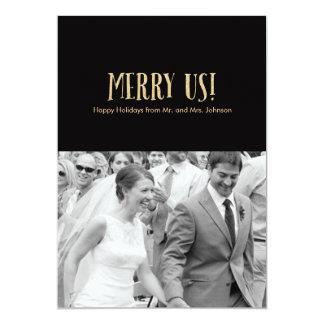 Feliz nós! Cartão-Brilho & preto da foto do Convite 12.7 X 17.78cm