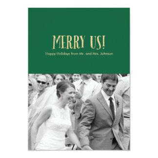 Feliz nós! Cartão-Brilho & verde da foto do Convite 12.7 X 17.78cm