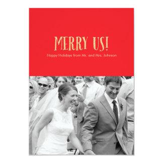 Feliz nós! Cartão-Brilho & vermelho da foto do Convite 12.7 X 17.78cm