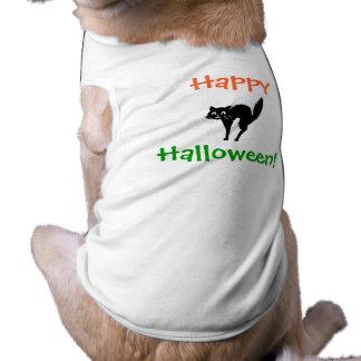 Feliz, o Dia das Bruxas! - T do cão Camisa Sem Mangas Para Cachorro