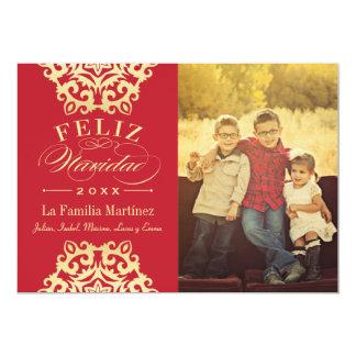 Feliz Tarjeta de la Foto de Navidad en Rojo y Oro Convites