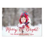 Feliz vermelha e cartão com fotos brilhante do convite personalizados