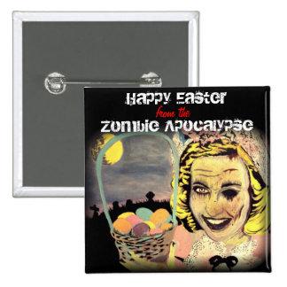 """""""Felz pascoa botão do apocalipse do zombi"""" Bóton Quadrado 5.08cm"""