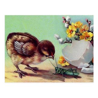 Felz pascoa. Cartão da páscoa do design do vintage Cartões Postais