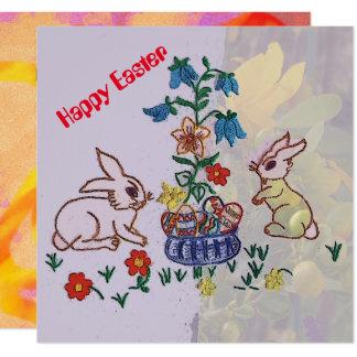 Felz pascoa - coelhos, lírios e ovos convite quadrado 13.35 x 13.35cm