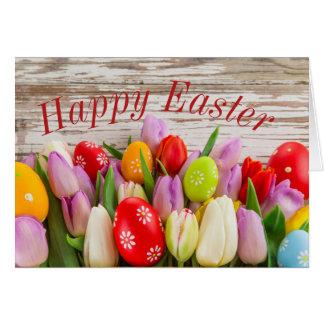 Felz pascoa com ovos coloridos cartão comemorativo