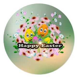Felz pascoa com ovos da páscoa engraçados convite quadrado 13.35 x 13.35cm