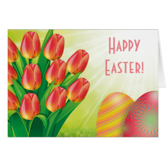 Felz pascoa com tulipas e ovos da páscoa cartão comemorativo