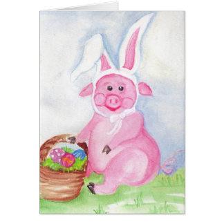 Felz pascoa do cartão do porco da páscoa