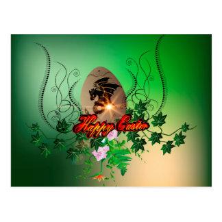 Felz pascoa, ovo da páscoa com dragão engraçado cartão postal