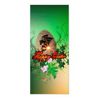 Felz pascoa, ovo da páscoa com dragão engraçado convite 10.16 x 23.49cm