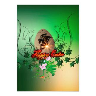 Felz pascoa, ovo da páscoa com dragão engraçado convite 12.7 x 17.78cm