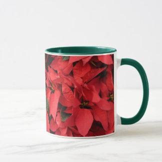 Feriado bonito do Natal das poinsétias II vermelho Caneca