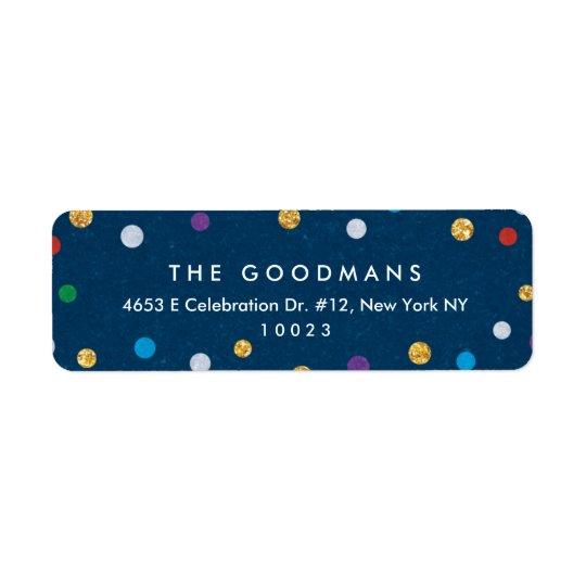 Feriado colorido bonito/partido dos confetes etiqueta endereço de retorno