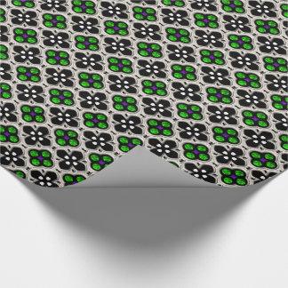 Feriado de prata e verde Bling Papel De Presente