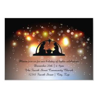 Feriado do convite das luzes Nativity-3x5Christmas