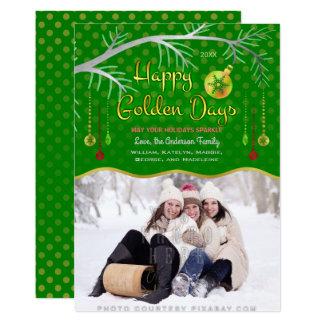 Feriado dourado feliz dos dias da foto de família convite 12.7 x 17.78cm