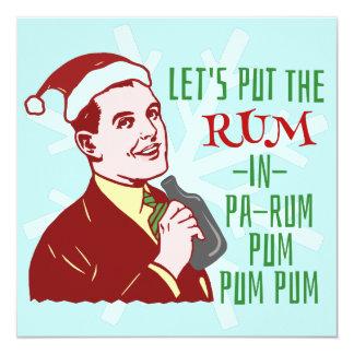 Feriado retro do adulto do rum da festa de Natal Convite Quadrado 13.35 X 13.35cm