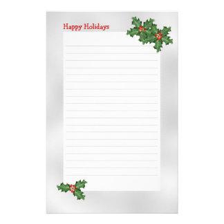Feriado temático, azevinho verde papel de carta papeis personalizados