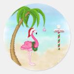 Feriado tropical do flamingo cor-de-rosa adesivo redondo