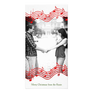 Feriado vermelho da foto da música do Natal Cartão Com Foto