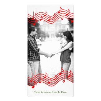 Feriado vermelho da foto da música do Natal Cartões Com Foto Personalizados