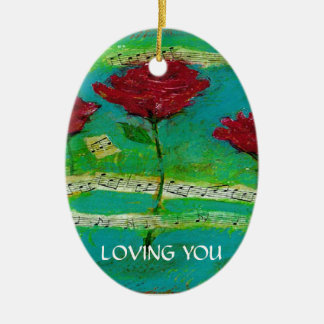 Feriados de AMOR de YOU/Happy Ornamento De Cerâmica Oval