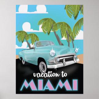 Férias ao poster de viagens de Miami Pôster