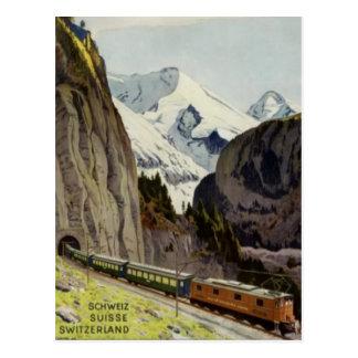Férias da estrada de ferro do vintage na suiça cartão postal