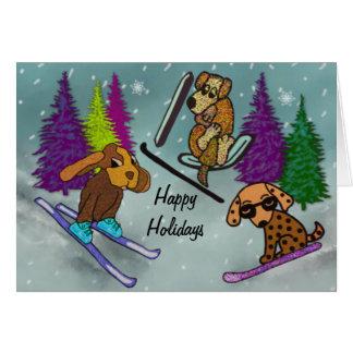 Férias do esqui do filhote de cachorro boas festas cartao