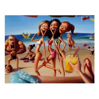 férias engraçadas dos desenhos animados cartão postal