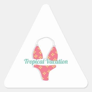 Férias tropicais adesivo triangular