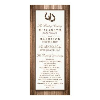 Ferradura rústica do país & casamento de madeira 10.16 x 22.86cm panfleto