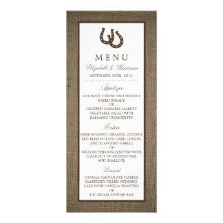 Ferradura rústica do país no menu do casamento de 10.16 x 22.86cm panfleto