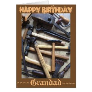 Ferramentas de madeira cartão comemorativo