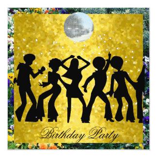 Festa de aniversário 2 retros dos anos 70 do disco convite quadrado 13.35 x 13.35cm