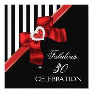 Festa de aniversário 30 fabulosa branca preta convite personalizados