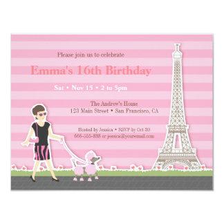 Festa de aniversário à moda de Paris da torre Convite 10.79 X 13.97cm