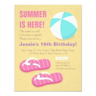 Festa de aniversário adolescente da praia do convite 10.79 x 13.97cm
