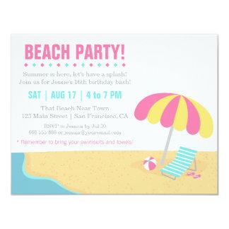 Festa de aniversário adolescente da praia do verão convite 10.79 x 13.97cm