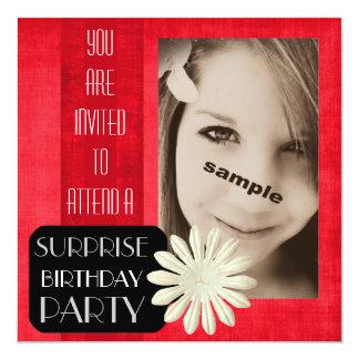 Festa de aniversário adolescente da surpresa da convite quadrado 13.35 x 13.35cm