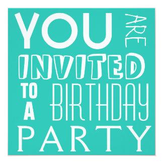 Festa de aniversário adolescente da tipografia do convite quadrado 13.35 x 13.35cm