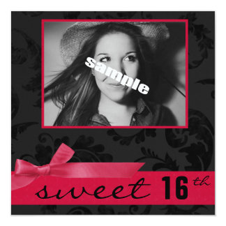Festa de aniversário adolescente do doce 16a (rosa convite quadrado 13.35 x 13.35cm